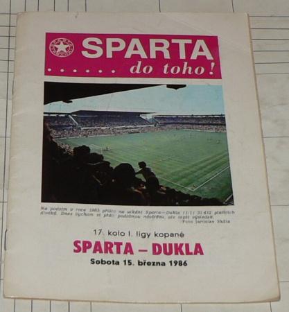 SPARTA ....DO TOHO - SPARTA PRAHA -DUKLA 15.3.1986