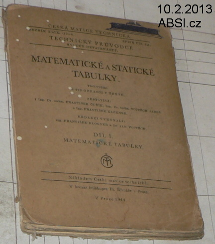 MATEMATICKÉ A STATISTICKÉ TABULKY (1944)