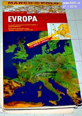 EVROPA - ROZKLÁDACÍ PŘEHLEDNÁ MAPA, TABULKA VZDÁLENOSTÍ, REJSTŘÍK OBCÍ